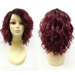 Red Wine Lace Front Wavy Lob Heat Resistant Wig